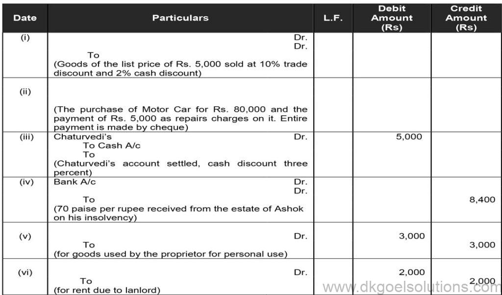 DK Goel Solutions Class 11 Accounts Chapter 9 Books of Original Entry – Journal